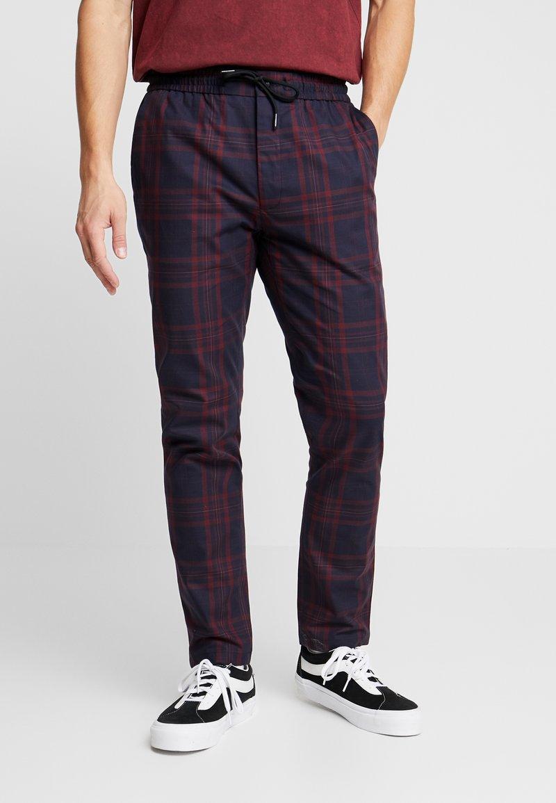 Topman - CHECK WHYATT - Kalhoty - burgundy