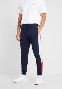 Topman - MONTY PANEL SKINNY JOGGER - Teplákové kalhoty - navy - 0