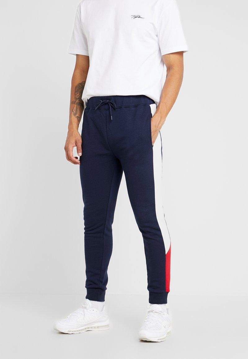 Topman - MONTY PANEL SKINNY JOGGER - Teplákové kalhoty - navy