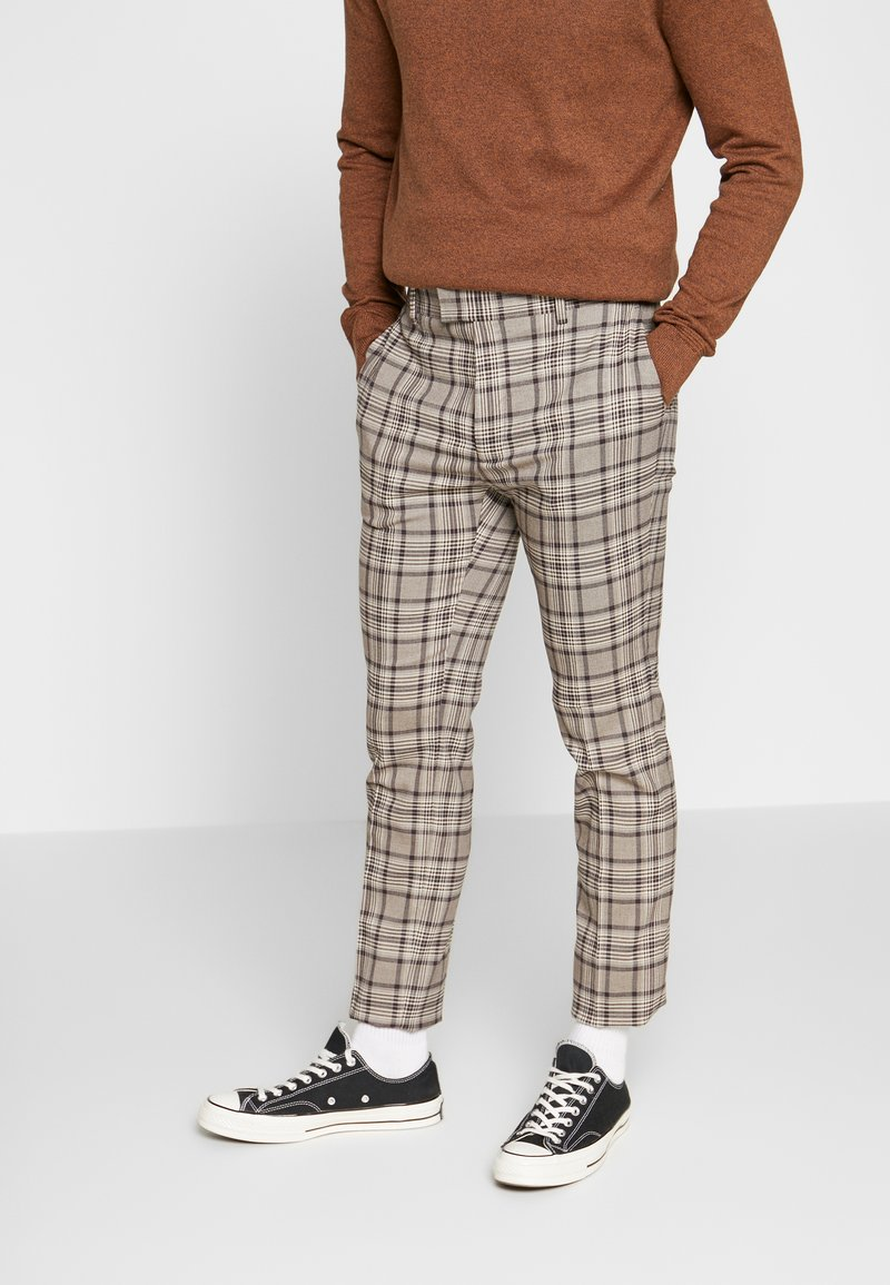 Topman - CORE CHECK TROUSER - Tygbyxor - grey