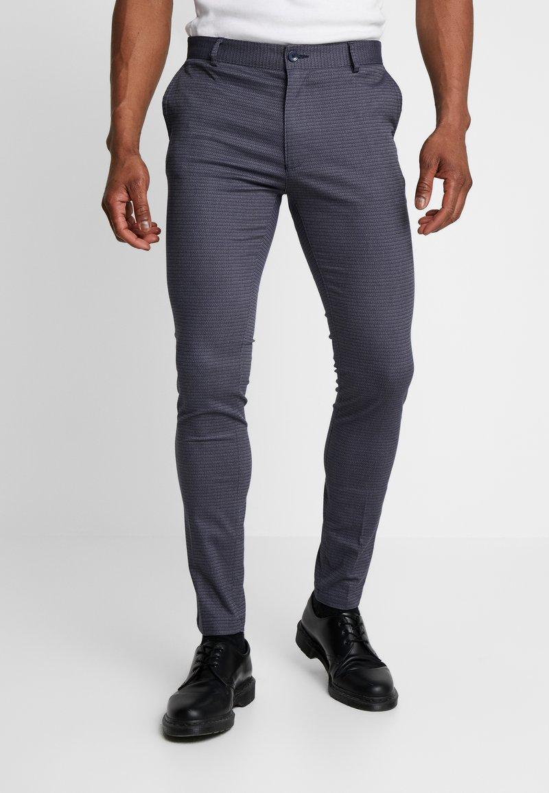 Topman - DOBBY - Pantalones chinos - navy