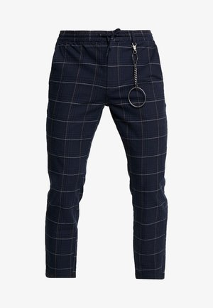 STITCH CHECK WITH CHAIN - Trousers - navy