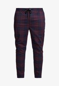 Topman - NAVY BURG CHECK  - Trousers - bordeaux/blue - 3