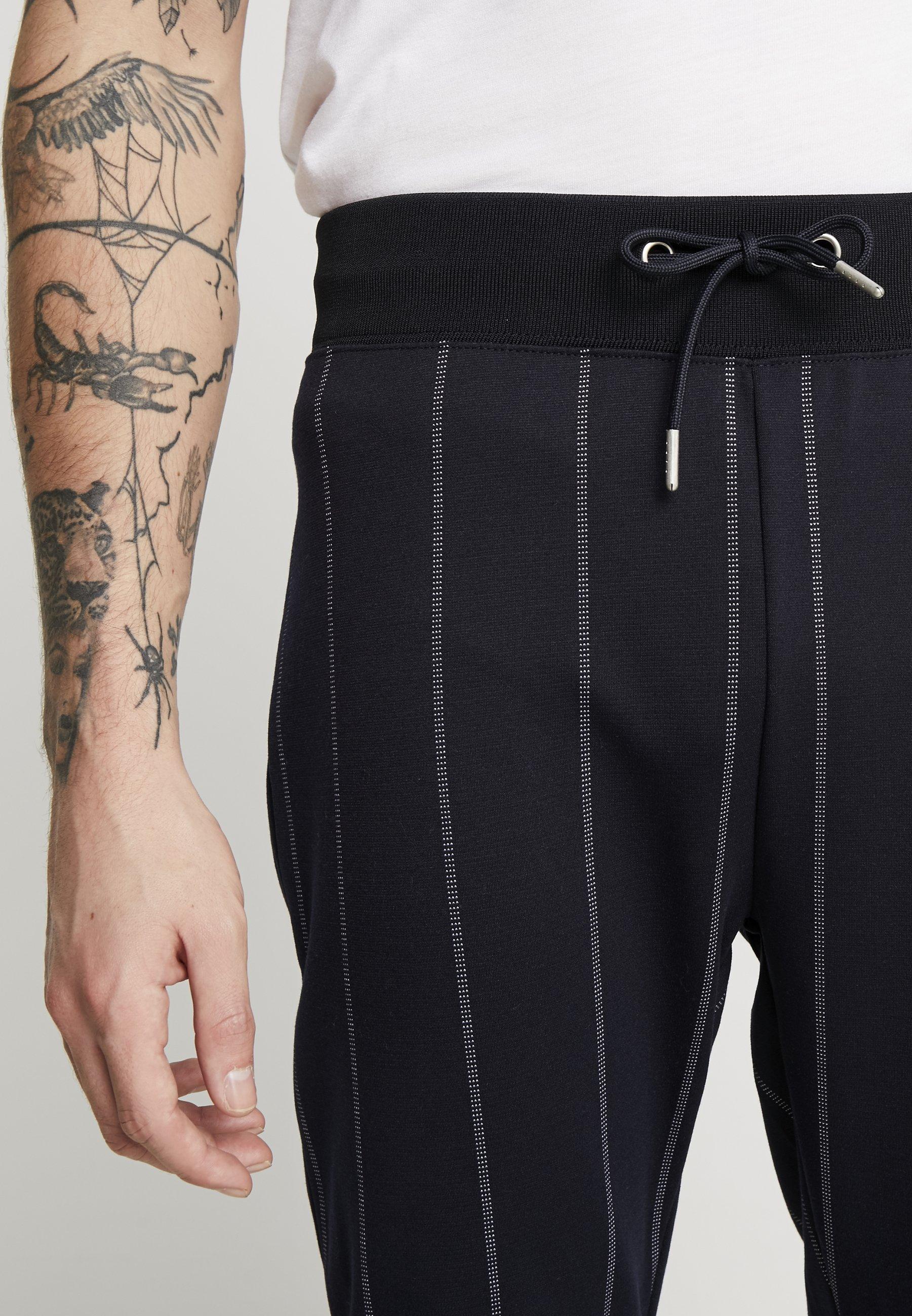 Topman PINSTRIPE TRACK - Tracksuit bottoms - dark blue