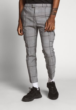 LARGE SCALE CHECK - Cargo trousers - grey