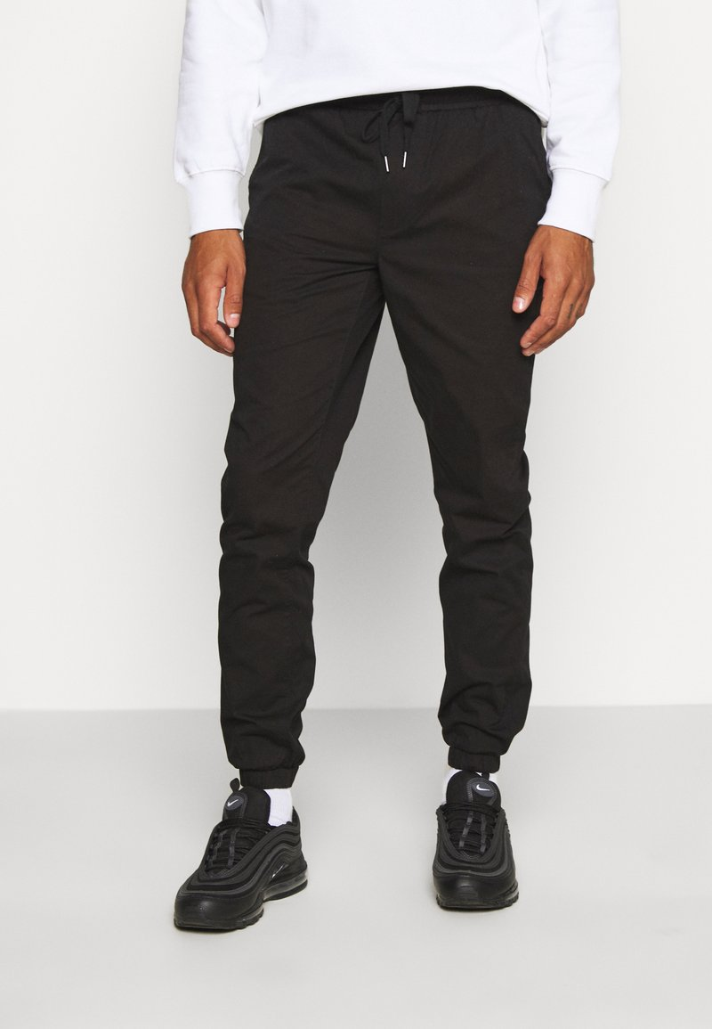 Topman - PAPER TOUCH CUFFED - Trousers - black