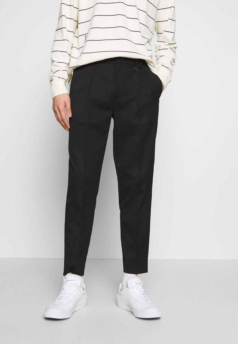 Topman - PLEAT TAPER - Trousers - black