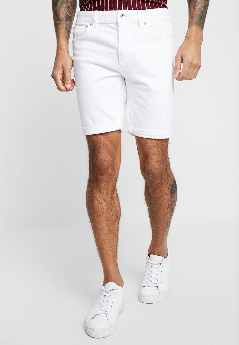 Topman - SAMUEL - Denim shorts - white