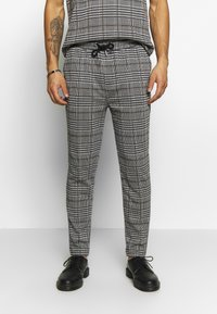 Topman - CHECK JOGGER - Trousers - grey - 0