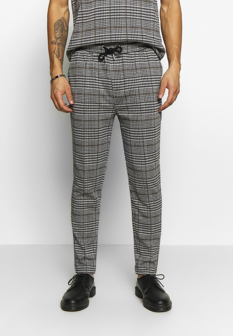 Topman - CHECK JOGGER - Trousers - grey