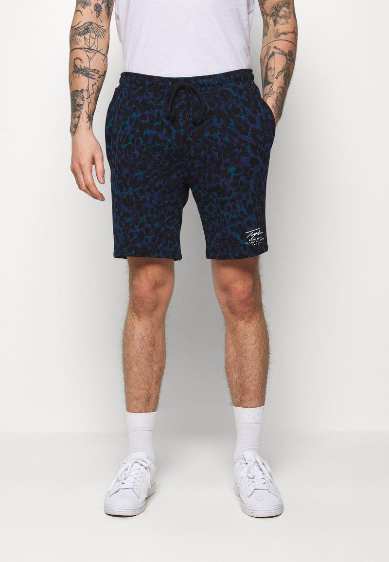 Topman - LEOPARD SIGNATURE - Pantaloni sportivi - dark blue