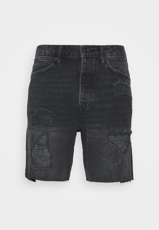 RIPPED UP SLIM - Shorts di jeans - black
