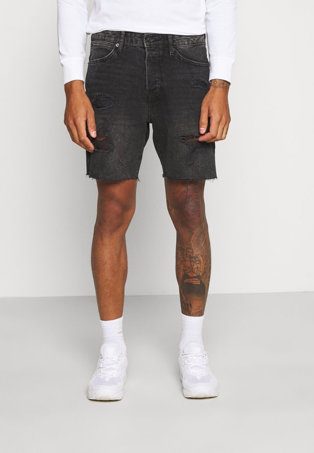 RIPPED UP SLIM - Jeans Shorts - black