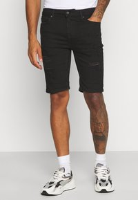Topman - SOLID SPRAY ON - Shorts di jeans - black - 0