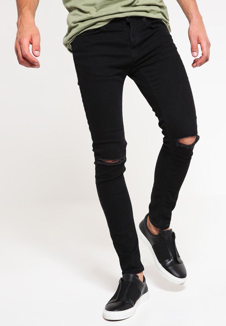 Topman - BLACK RIPPED KNEE STRETCH SKINNY FIT JEANS - Jeans Skinny Fit - black