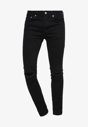 BLACK RIPPED KNEE STRETCH SKINNY FIT JEANS - Jeans Skinny Fit - black