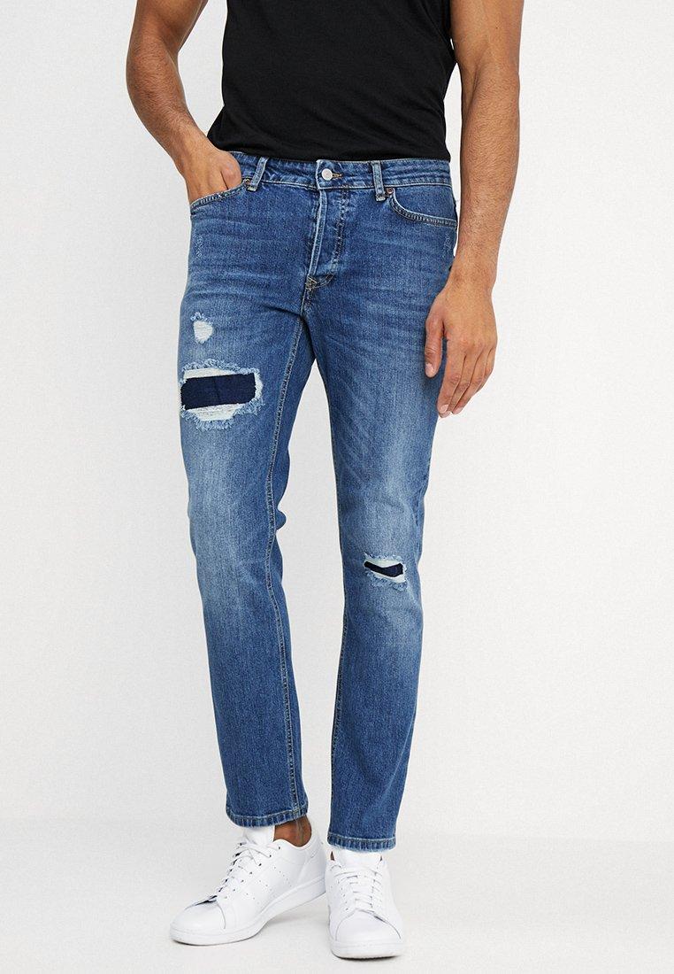 Topman - INDIGO PATCH SLIM JEANS - Jeans Slim Fit - rind