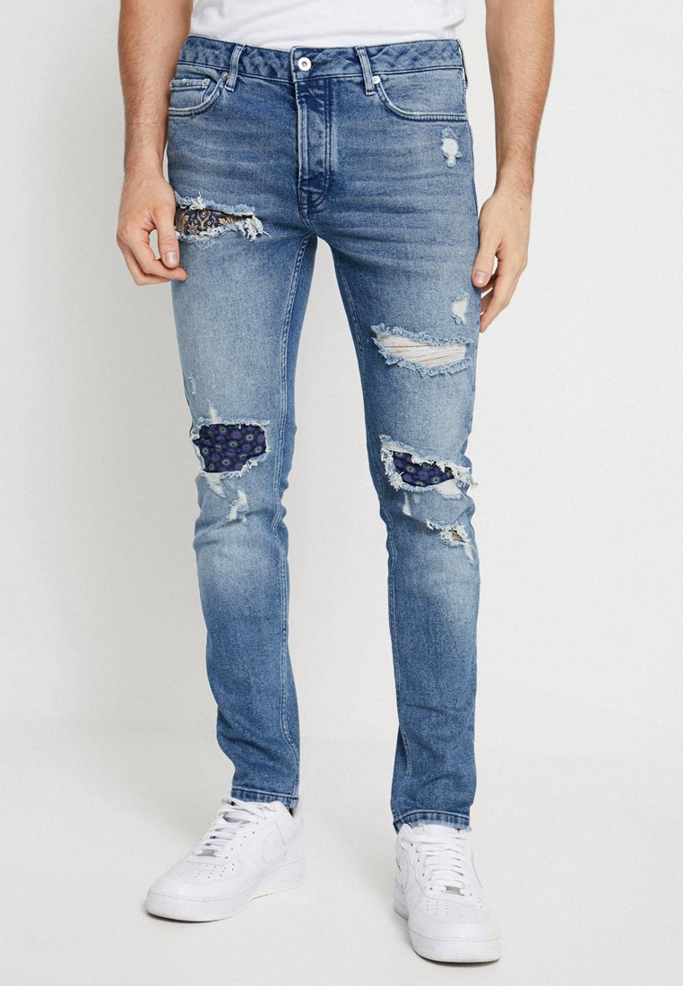 Topman - MID-WASH ALBY BANDANA PATCH RIPPED STRETCH - Jeans Skinny Fit - blue
