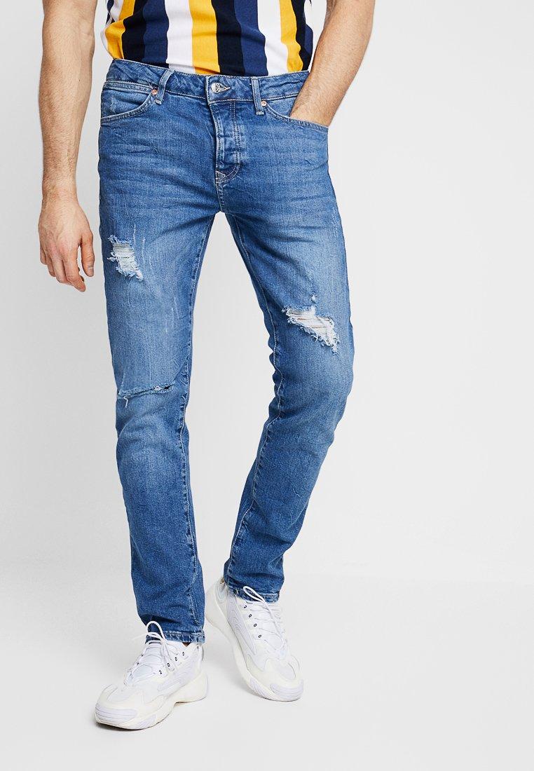 Topman - YOESMITE MARBLE WASH RIP  - Jeans Slim Fit - mid wash