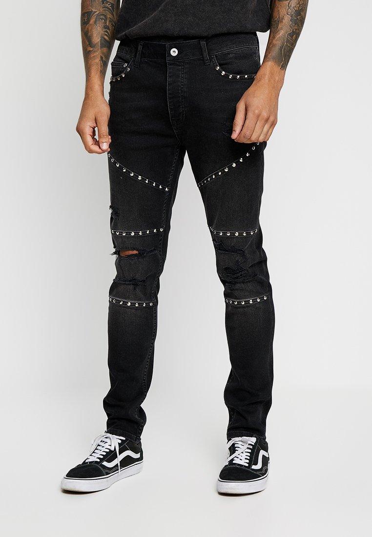 Topman - VINTAGE STUD PANELLED - Jeans Skinny Fit - black