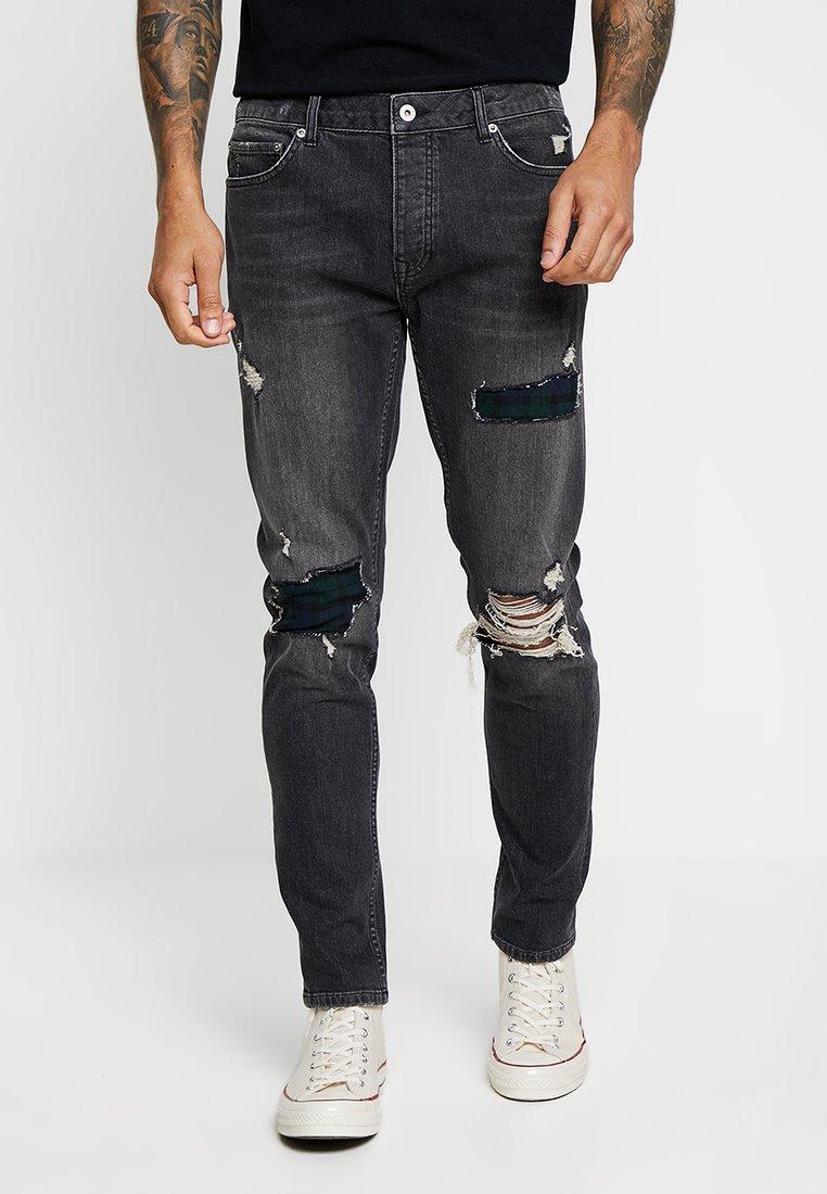 Topman - REPAIR JEAN - Jeans slim fit - black