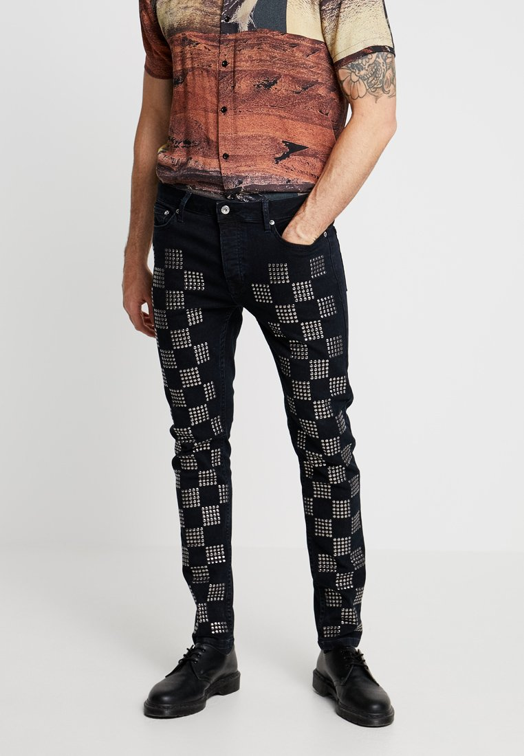 Topman - CHECKERBOARD STUD - Jeansy Skinny Fit - black