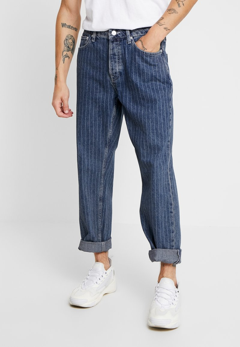 Topman - STRIPE ORIGINAL - Jeansy Relaxed Fit - white