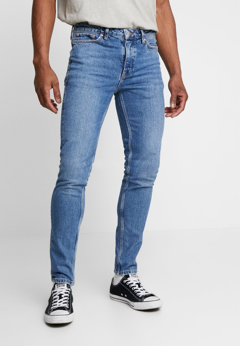 Topman - STRETCH SKINNY - Jeans Skinny Fit - blue denim