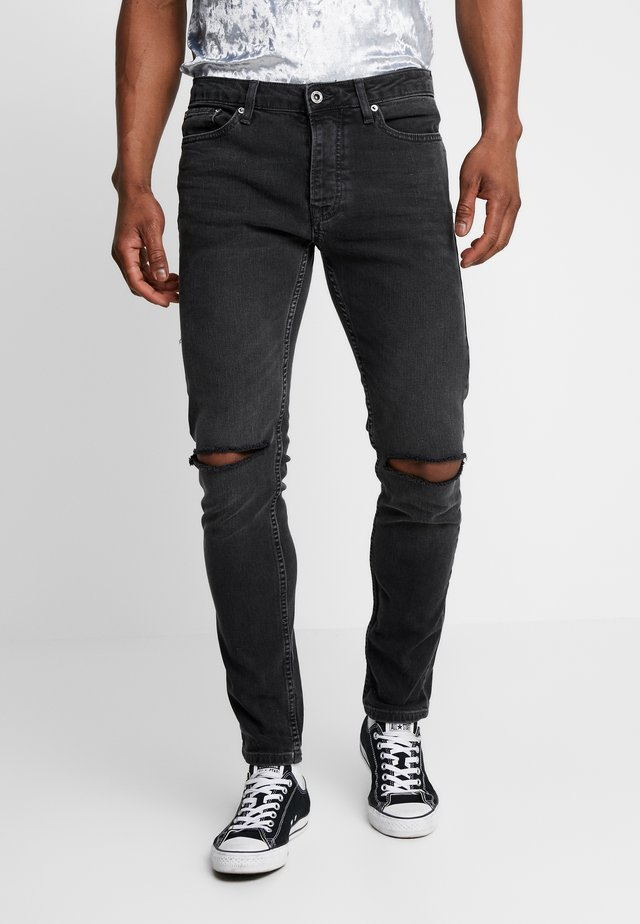 TYLER DOUBLE KNEE RIP - Jeans Skinny Fit - washed black