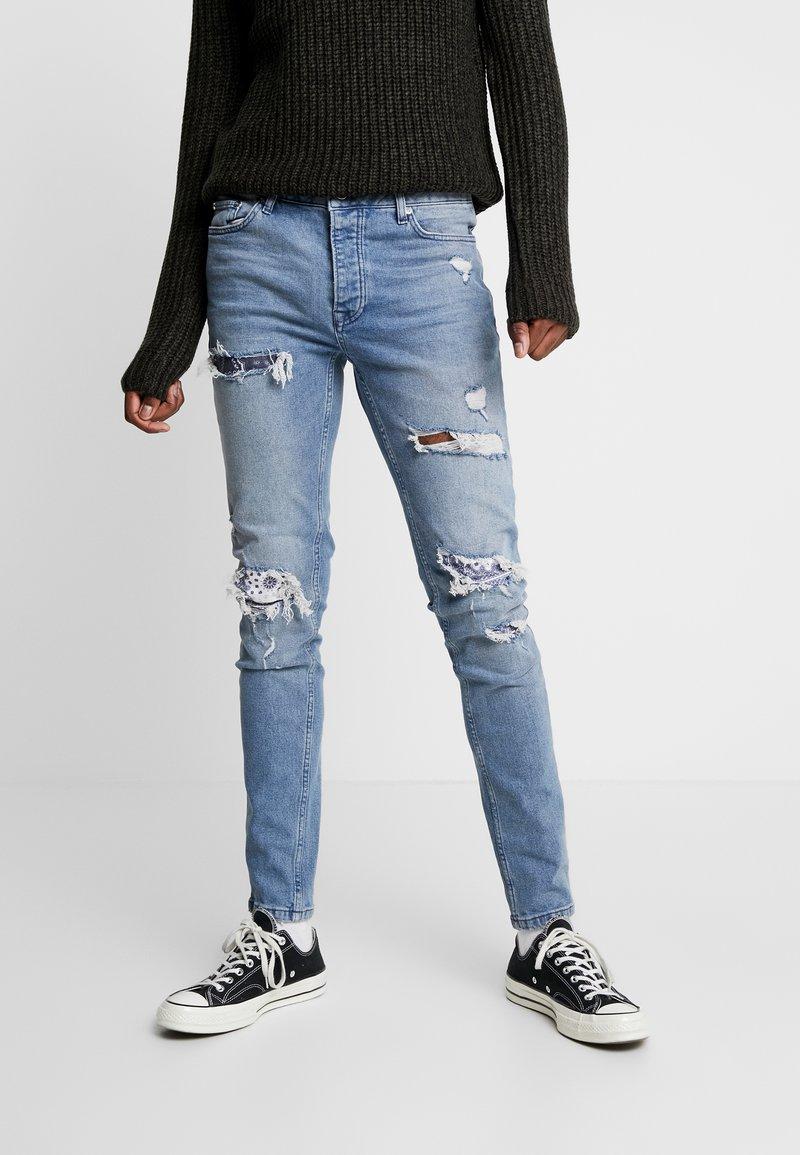 Topman - BANDANA REPAIR UPDATE  - Skinny džíny - blue denim