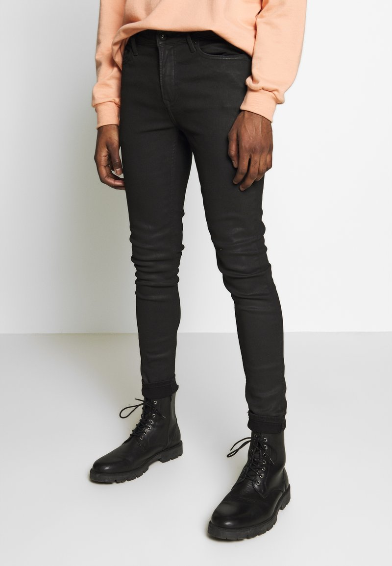 Topman - COATED SPRAY ON - Jeans Skinny Fit - black