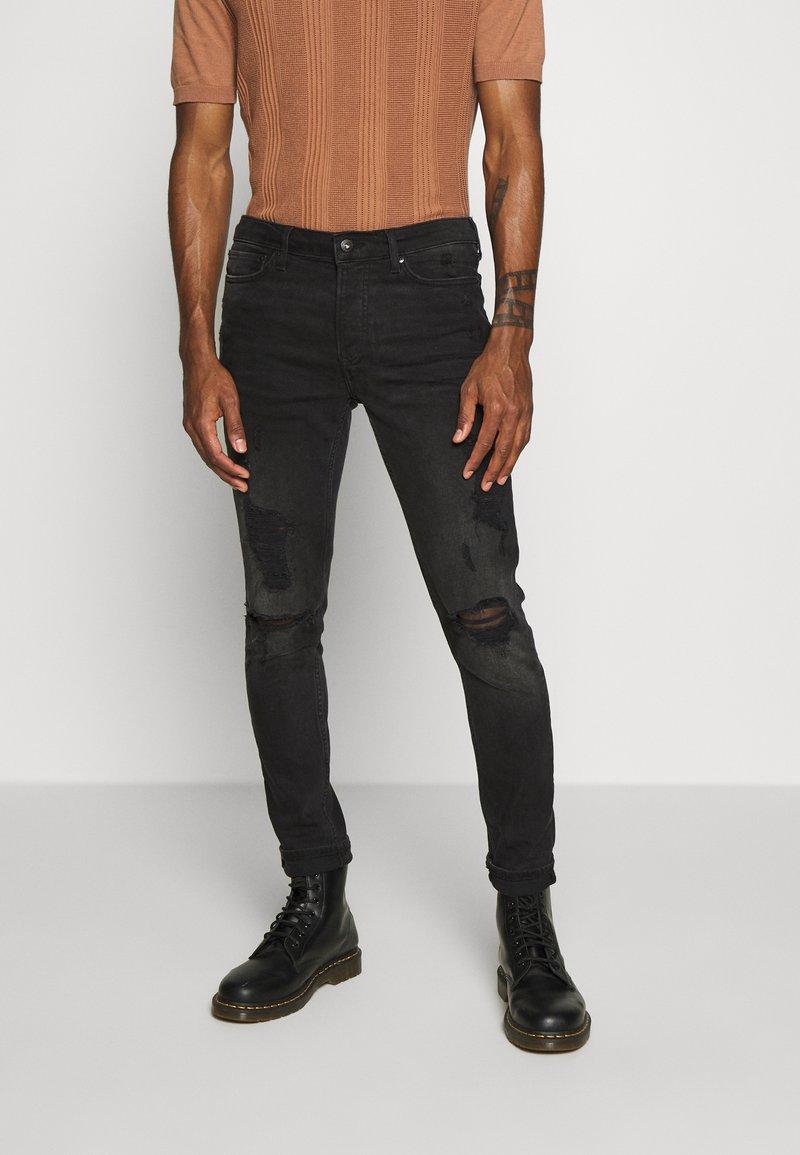 Topman - Skinny džíny - washed black
