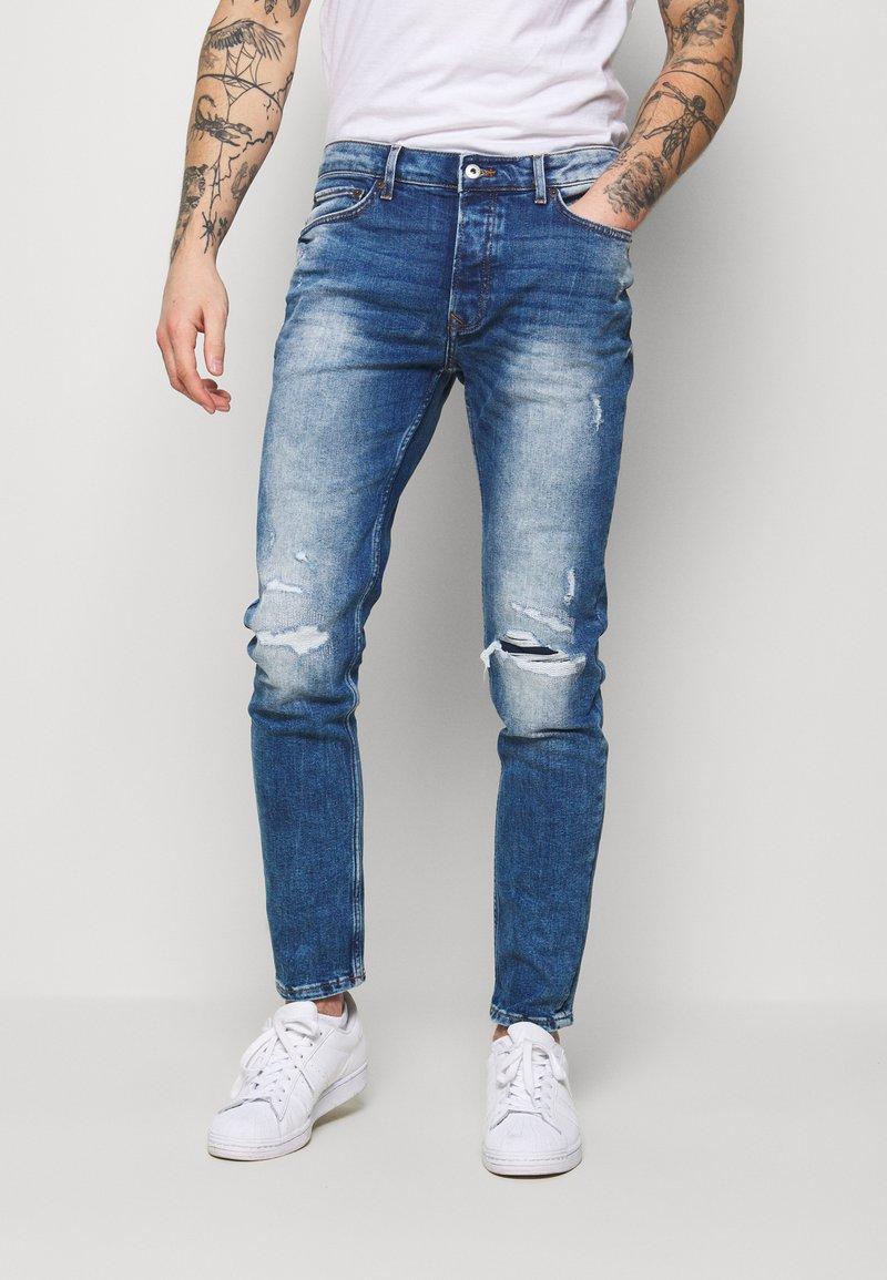 Topman - HEAVY WASH - Jeans slim fit - blue