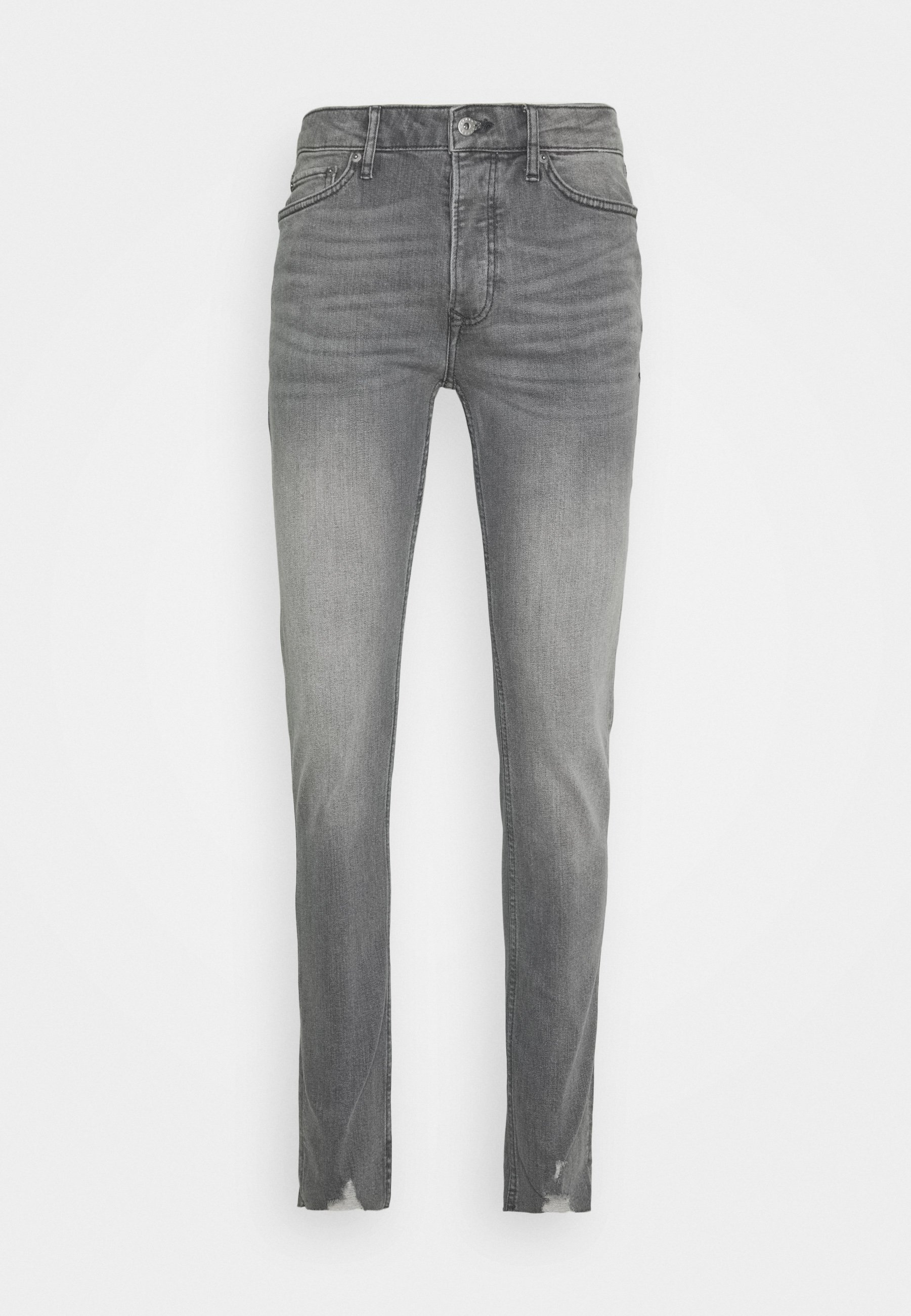 Topman Knee Raw Hem - Jeans Skinny Fit Grey