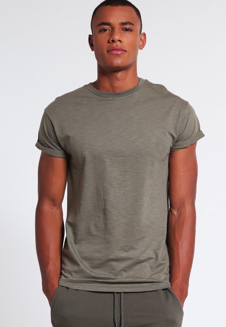 Topman - MUSCLE ROLLER - Basic T-shirt - khaki/olive