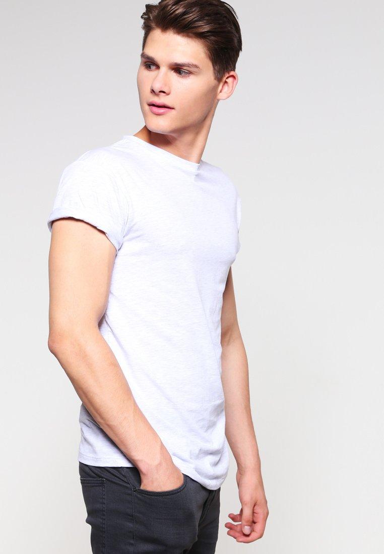 Topman - FROST MUSCLE FIT  - T-Shirt basic - light grey