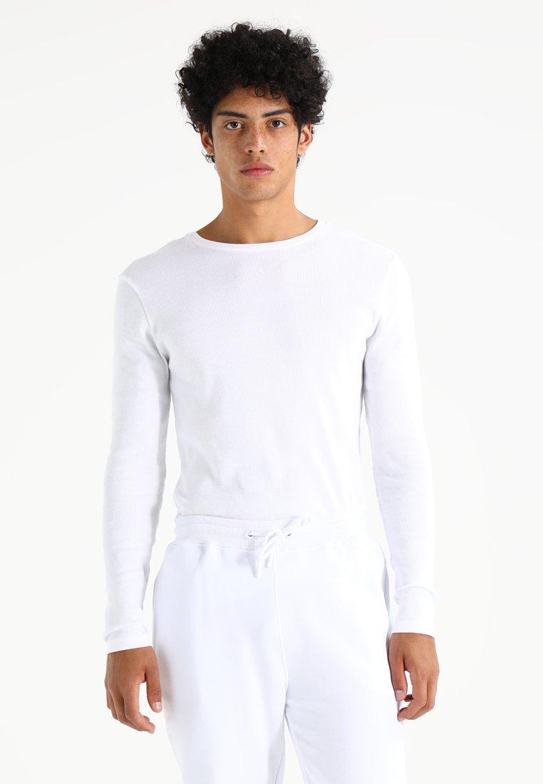 Topman - MUSCLE FIT - Långärmad tröja - white