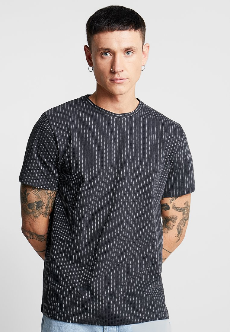 Topman - PINSTRIPE CREW - Basic T-shirt - black