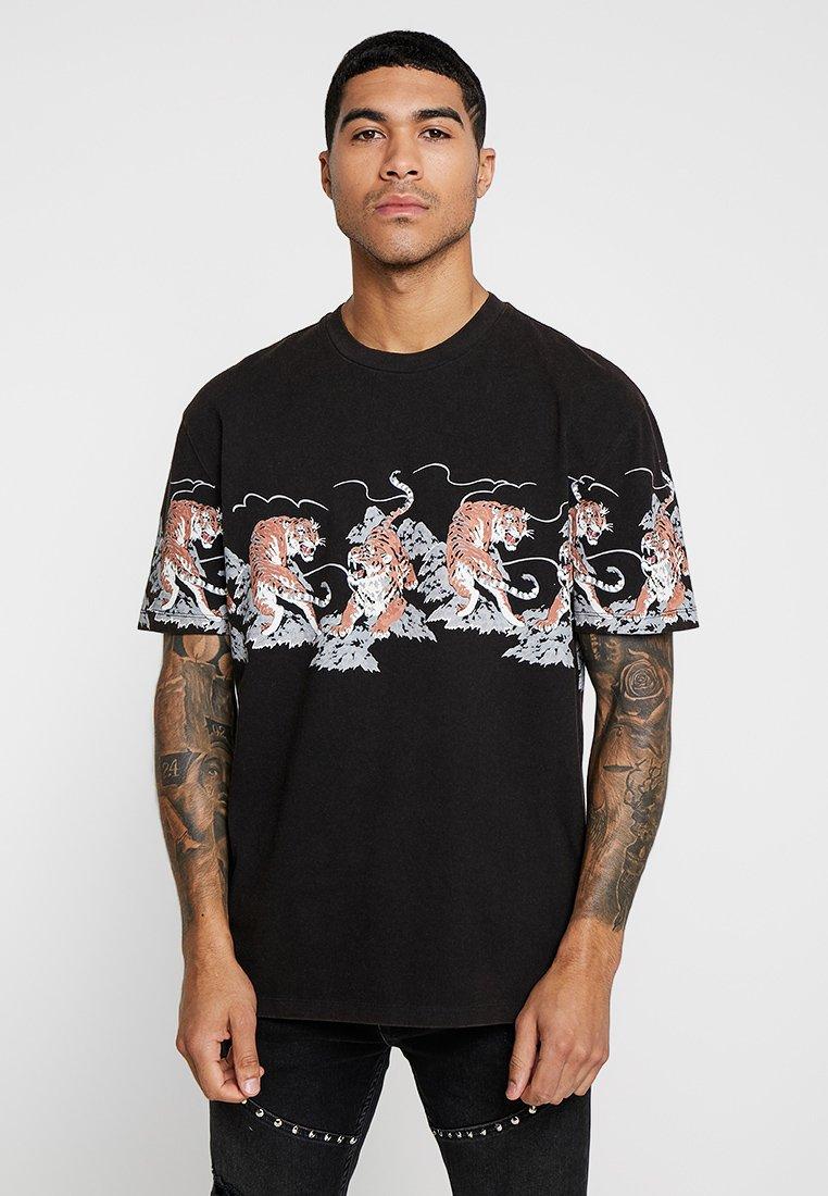 Topman - TIGER - T-Shirt print - black