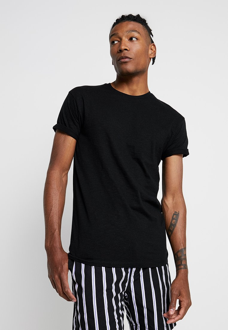Topman - SKIN SLUB  - Basic T-shirt - black