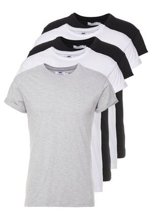 5 PACK - T-shirts - white/black/grey