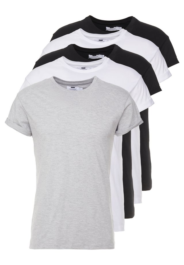 5 PACK - T-paita - white/black/grey