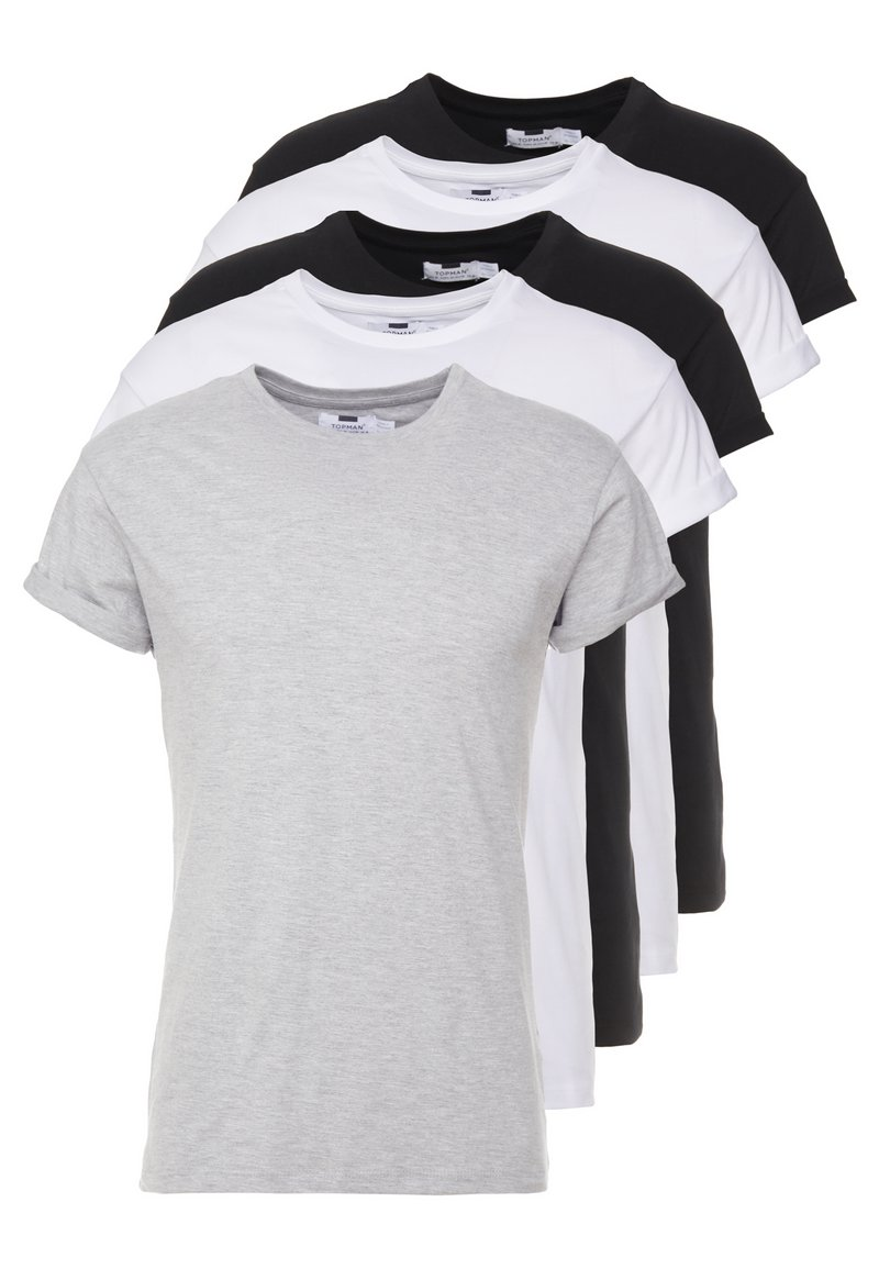 Topman - 5 PACK - Basic T-shirt - white/black/grey