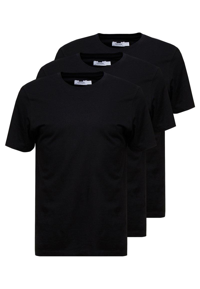 Topman - 3 PACK - T-shirt - bas - black