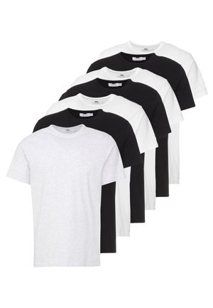 7 PACK - Basic T-shirt - black/white/light grey melange