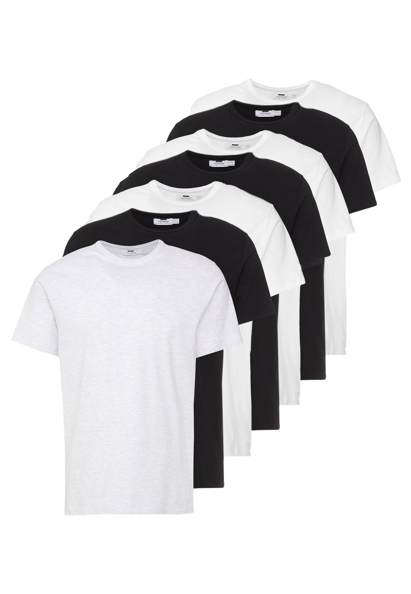Topman - 7 PACK - Jednoduché triko - black/white/light grey melange
