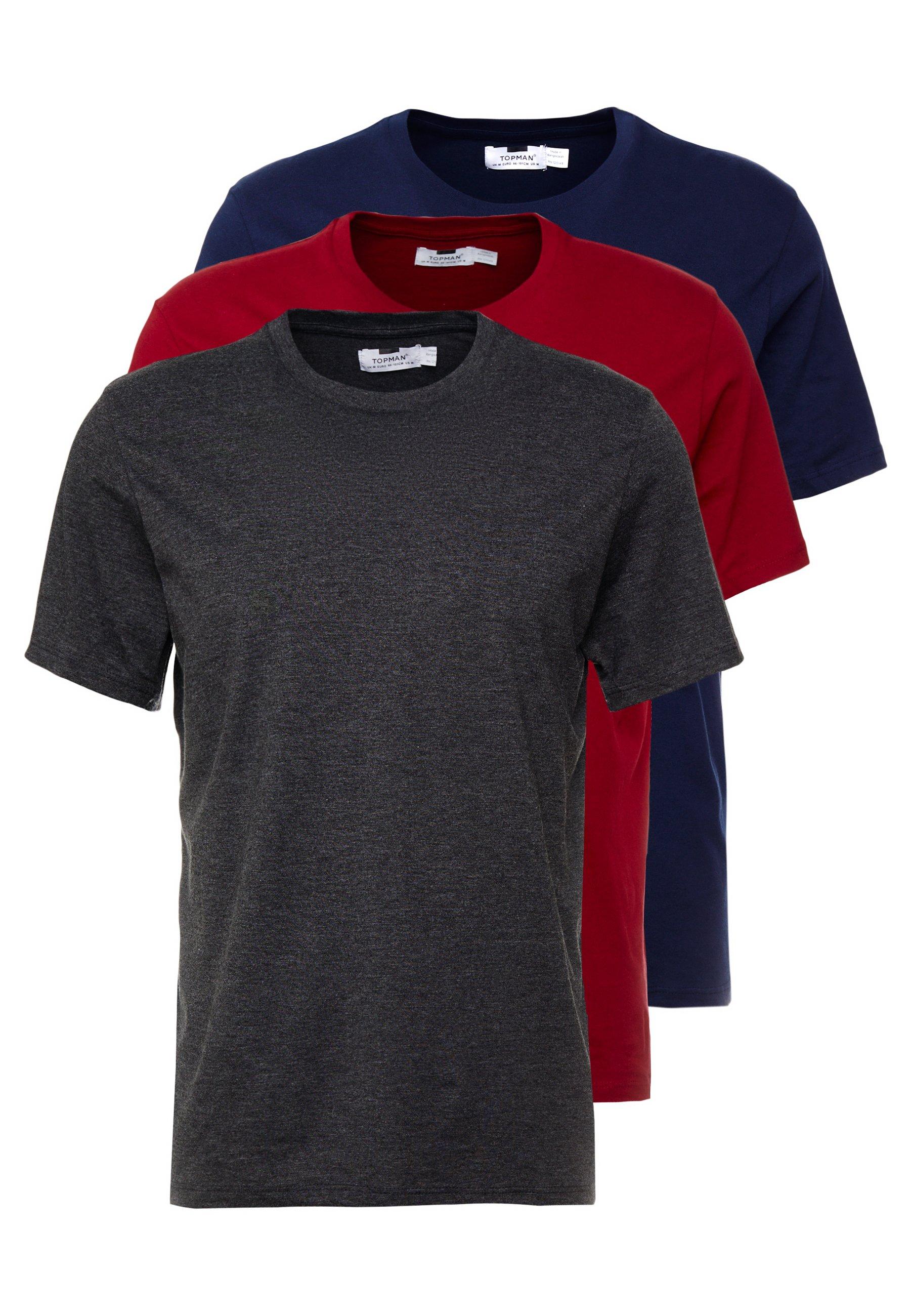 Topman 3 PACK - T-shirt basic - grey/bordeaux/dark blue