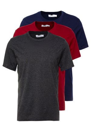 3 PACK - Jednoduché triko - grey/bordeaux/dark blue