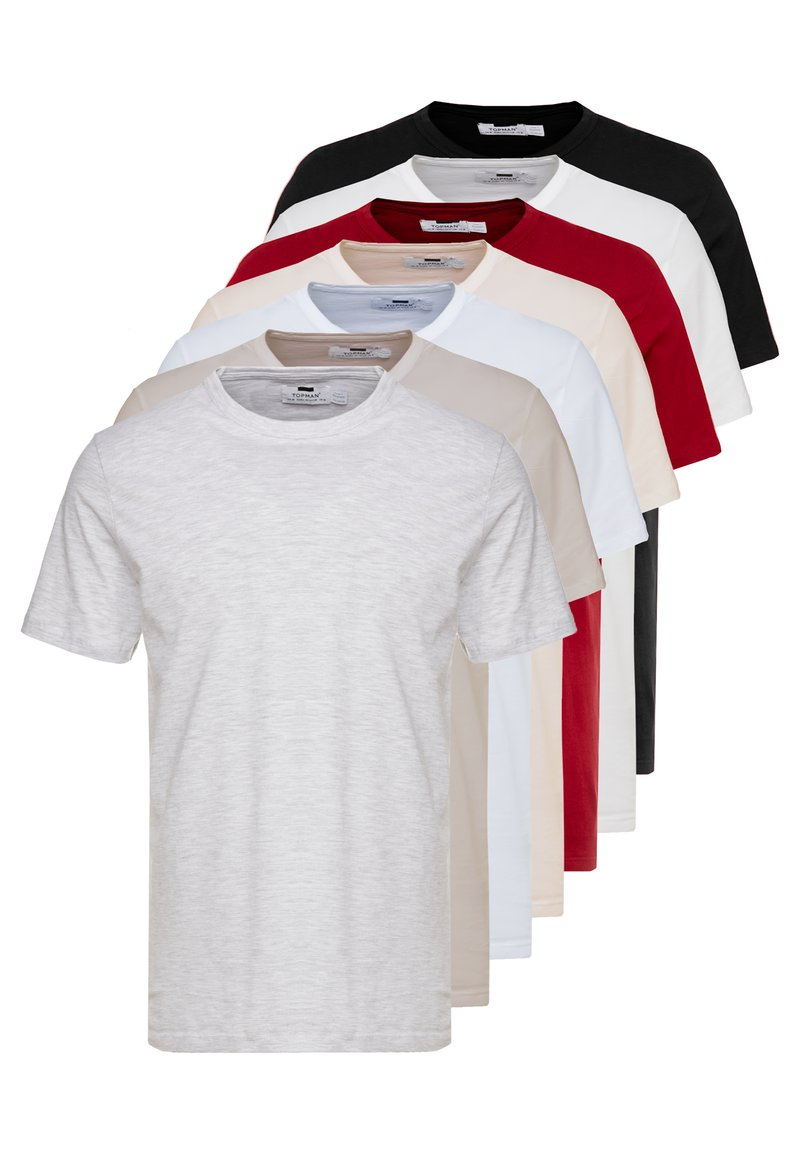 Topman - 7 PACK - T-shirts - grey/white/ red