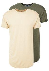 Topman - SCOTTY 2 PACK - Jednoduché triko - beige/khaki - 0